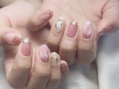 ピンクミラー天然石ネイル