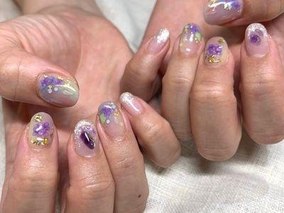 水滴紫陽花ネイル【担当】石原