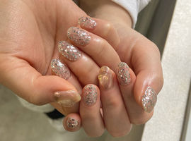 韓国ラメ×天然石ミラーネイル/Shiho.K