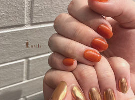 オレンジミラーネイル☆¥7150