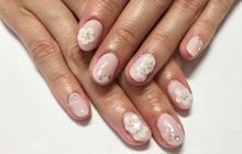 3Dお花ピンクネイル