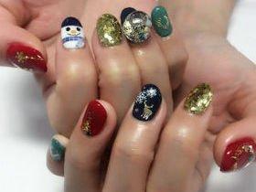 スノーマン×スノードームクリスマスネイル