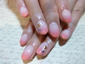 ピンクサンゴカラーグラデ