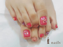 *FOOT*ピンクのちゅるんネイル 7980yen