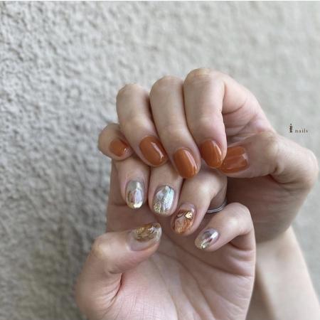 トレンドcollection オレンジブラウンネイル 【担当】maya.hのサムネイル