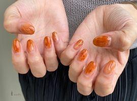 キラキラオレンジネイル