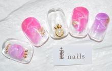 ピンク天然石ネイル